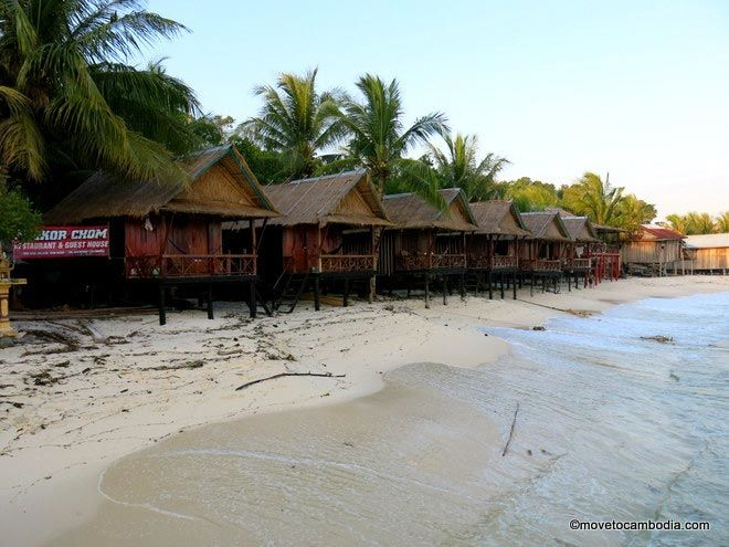 A view of Long Beach and Angkor Chom bungalows on Koh Rong.