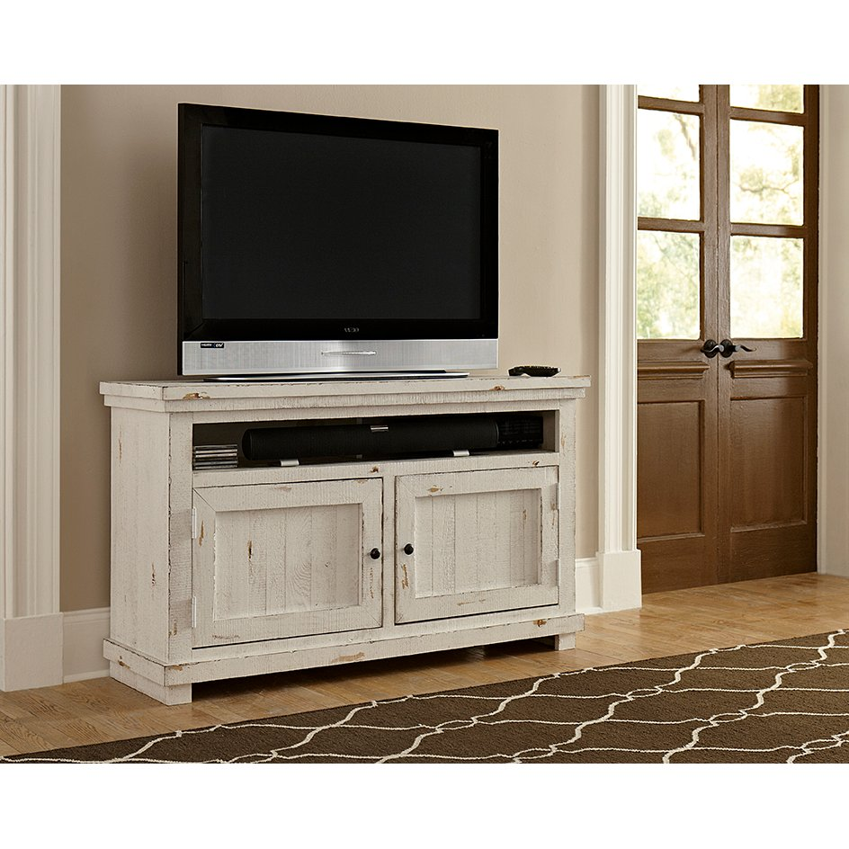 54 Inch Distressed White TV Stand  Willow Distressed Tv Stand RC Willey91
