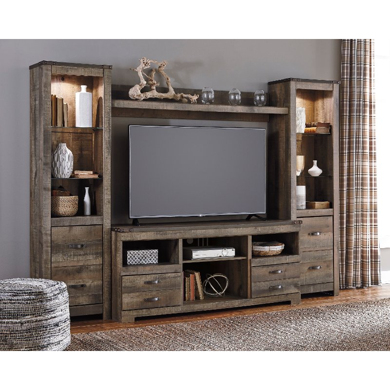 Natural Brown 4 Piece Rustic Entertainment Center  Trinell Rustic Entertainment Center RC Willey94