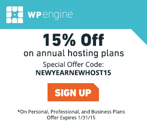 WP Engine 15% off with NEWYEARNEWHOSTING15