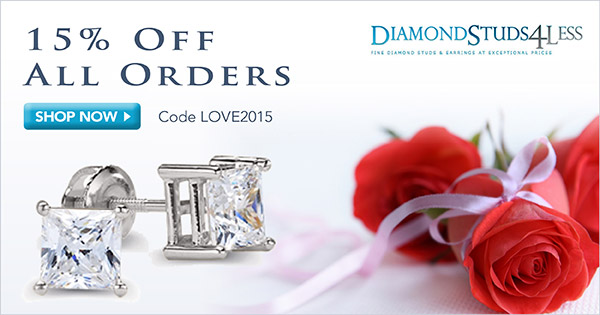 15% Off All Orders + Free Shipping at DiamondStuds4Less.com, code LOVE2015