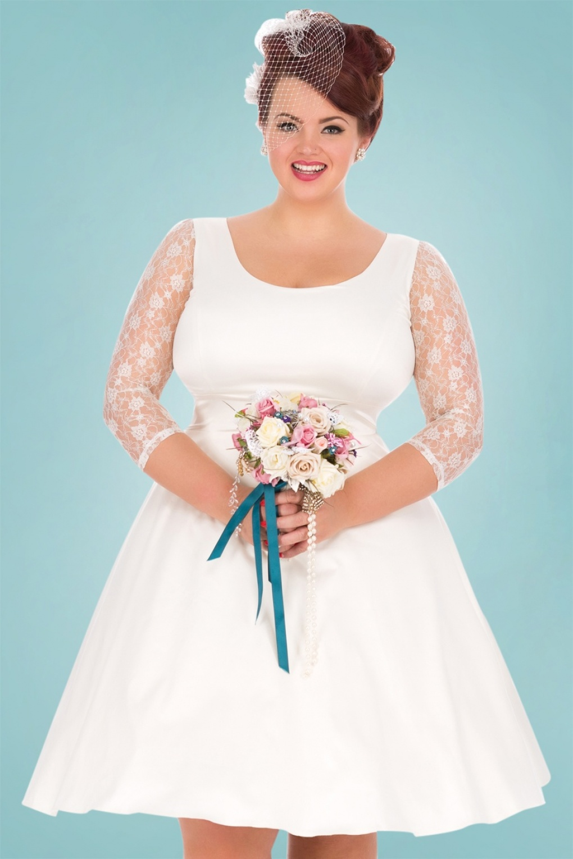 s style wedding dresses 50s wedding dress s Style Wedding Dresses 50s Phoebe Satin Wedding Dress in Ivory 69 AT vintagedancer