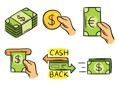 Hand Drawn Cash Back Element Vector - Download Free Vector Art, Stock Graphics & Images