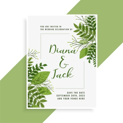 wedding invitation card design in floral green leaves ...
