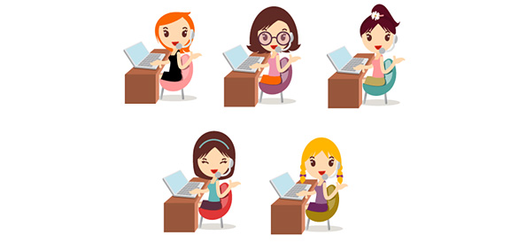 5 Vector Illustrations of Girls with Notebooks