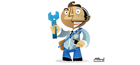 Vector Character holding a Spanner and Telephone