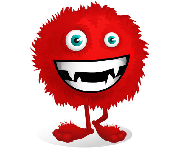 Red Fluffy Monster Vector Character Preview Big