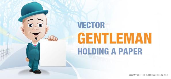 Vector Gentleman Holding a Paper