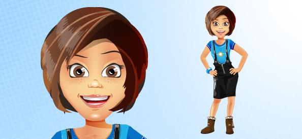 Attractive Girl Vector Character