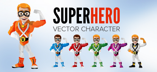 Superhero Vector Character with Mask