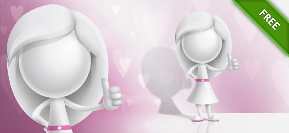 3D Girl Thumbs Up