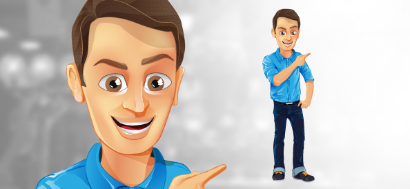 2 Male Cartoon Characters : Male vector character with jeans and blue shirt