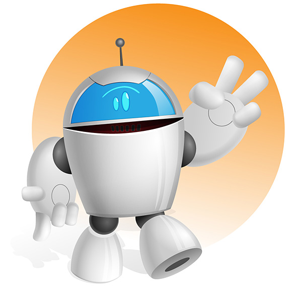 Chubby Robot Vector Character Preview