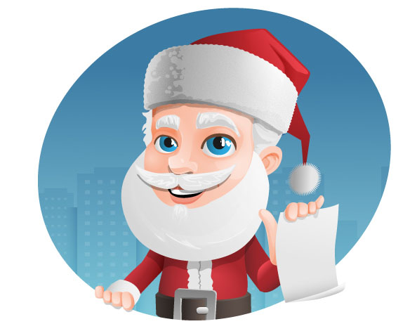 Santa Claus Vector Character Holding a Note Preview