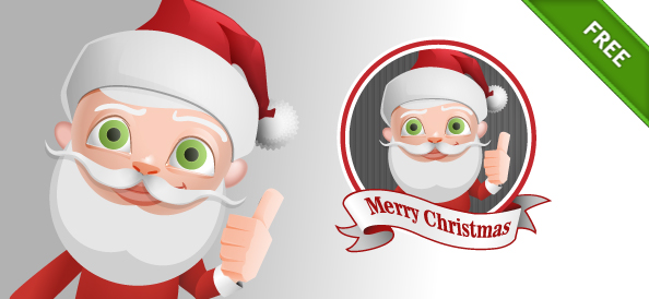 Santa Claus Vector Character with Thumbs Up