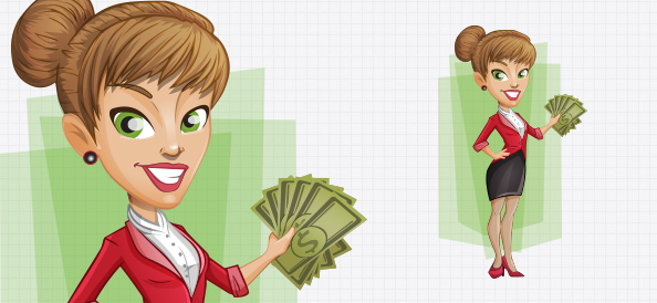 Vector Businesswoman with Money