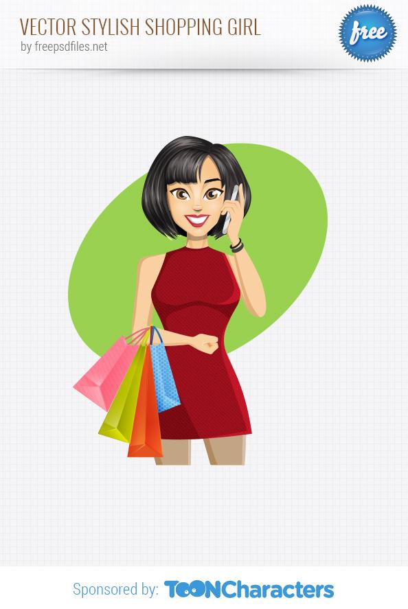 Vector Stylish Shopping Girl