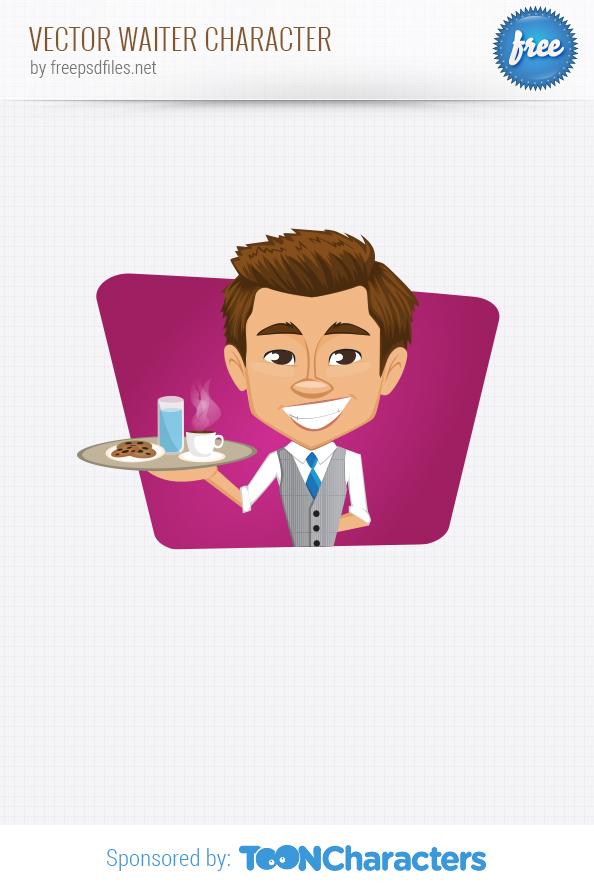 Vector Waiter Holding Tray