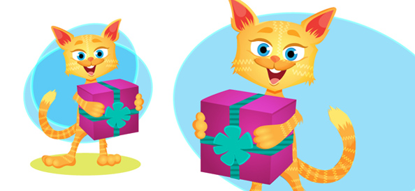 Vector Cat With Gift