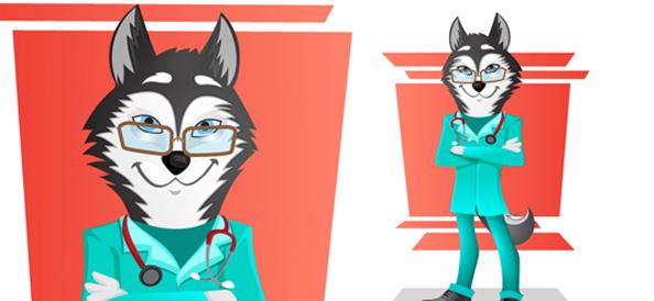 Vector Husky Doctor