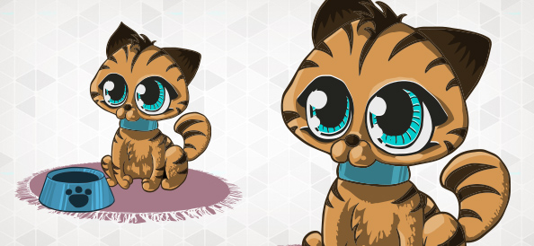 Cute Vector Kitten with Bowl