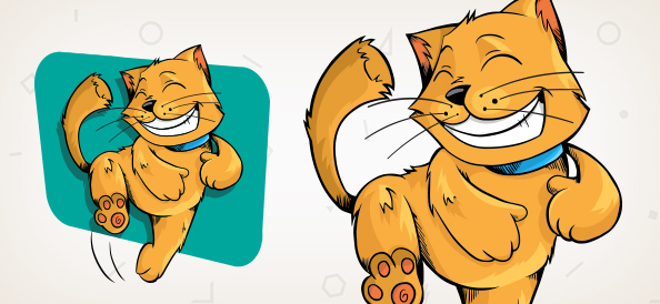 Happy Cat Vector Character