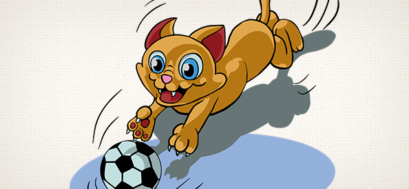 Vector Cat Playing with Ball