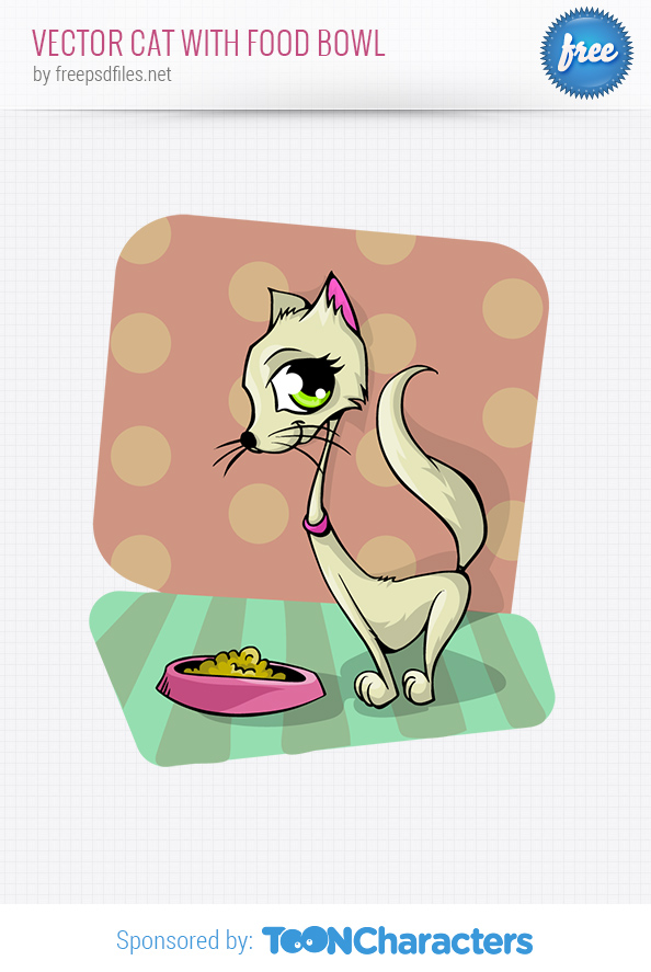 Vector Cat with Food Bowl