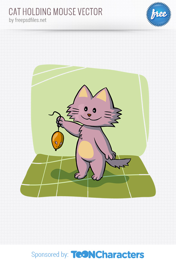Cat Holding Mouse Vector Character