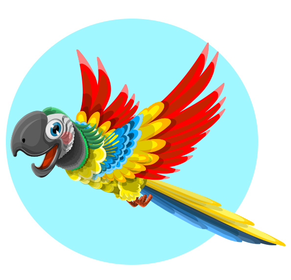 Cute Free Vector Parrot Character