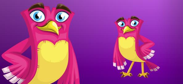 Confident female vector bird