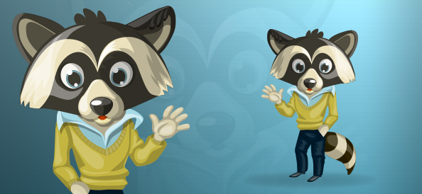 Friendly Raccoon Business Cartoon Waving at you