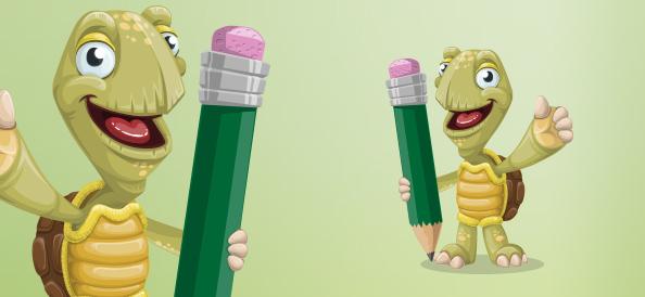Vector Turtle Cartoon Character