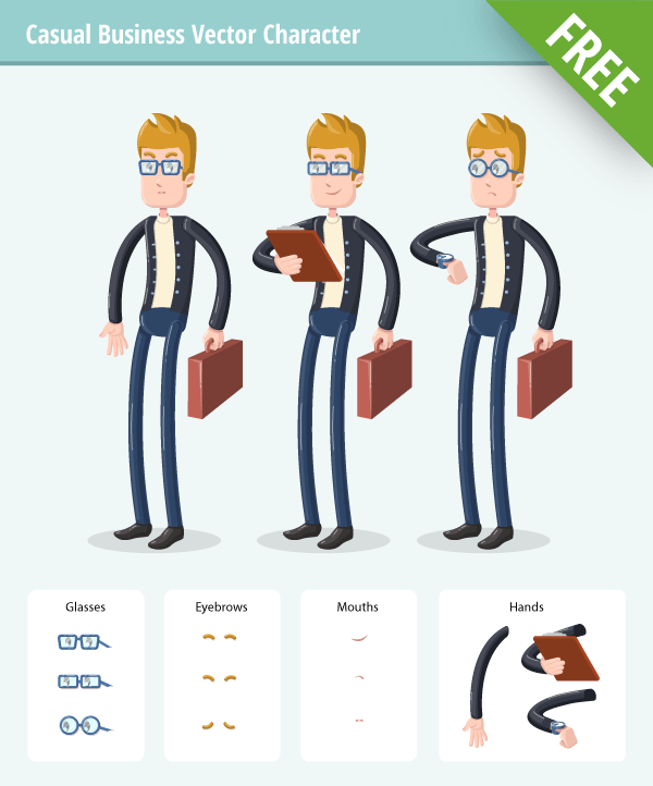 Business Vector Character Set with casual clothes free