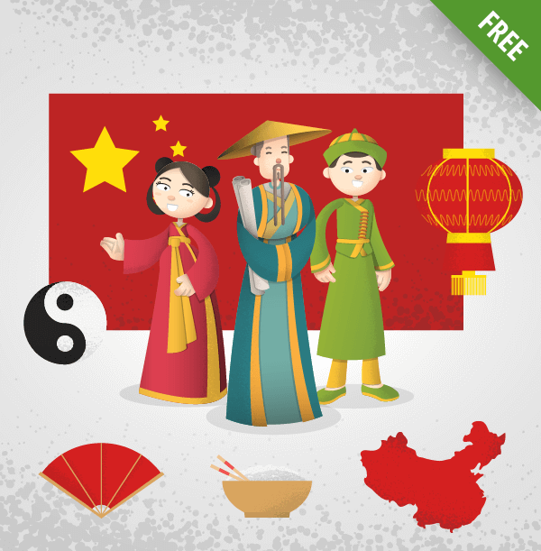 Chinese Cartoon Characters Vector Set