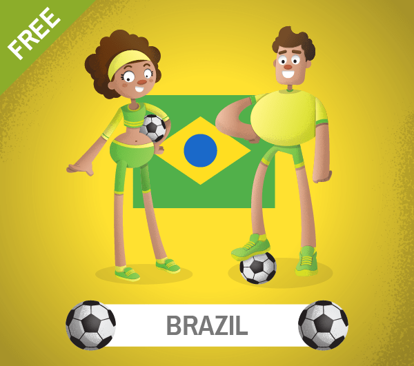 free brazil Soccer Cartoon Characters, freebie, brazil football players