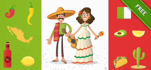 Mexican Cartoon Characters Set