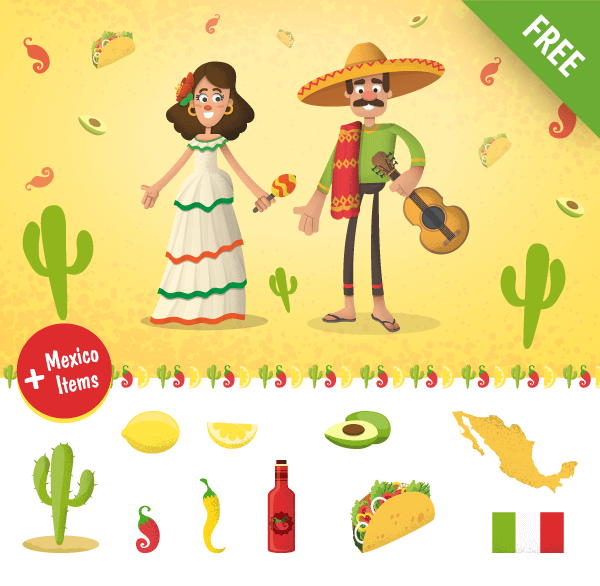 mexican cartoon characters set, items, cactus, lemon, mexico map, chili, avocado, mexico vector characters