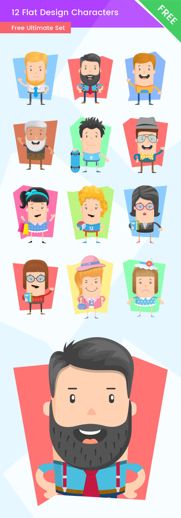 Flat Design Characters - Free Ultimate Set, flat characters, flat cartoons, free cartoon characters
