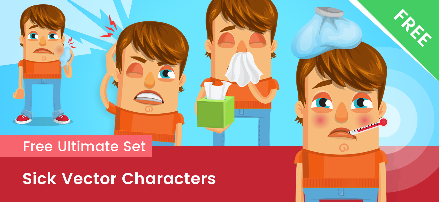 Sick Vector Cartoon Character Free Set