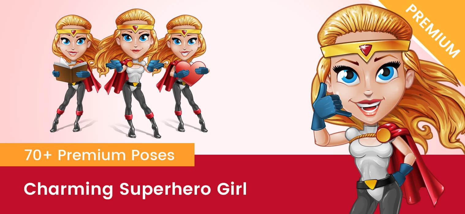 Charming Superhero Girl Vector