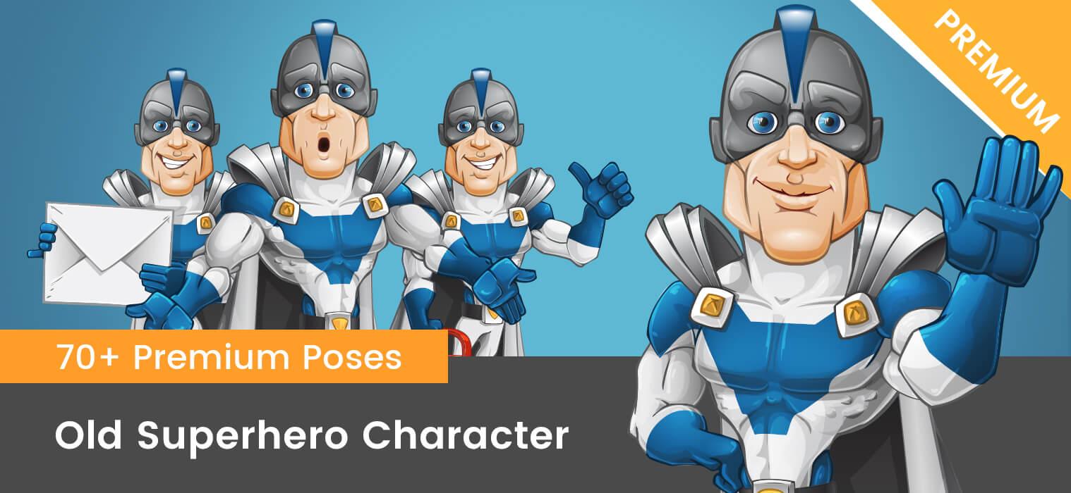 Superhero with a Helmet Vector Character