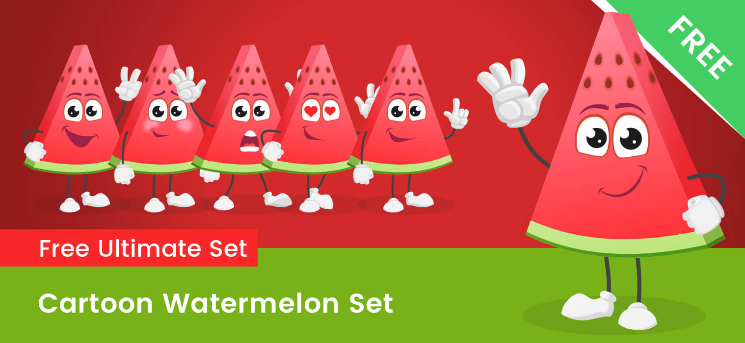 Cartoon Watermelon Vector Set