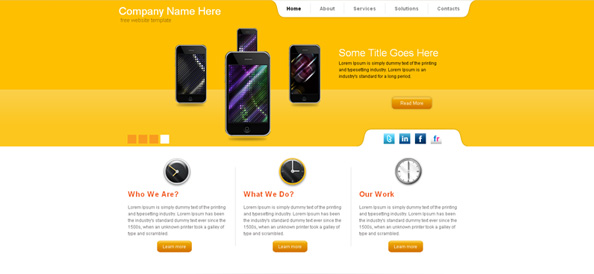 Free Yellow Website CSS Template