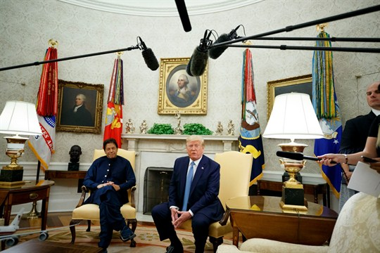 President Donald Trump and Prime Minister Imran Khan in the Oval Office of the White House.