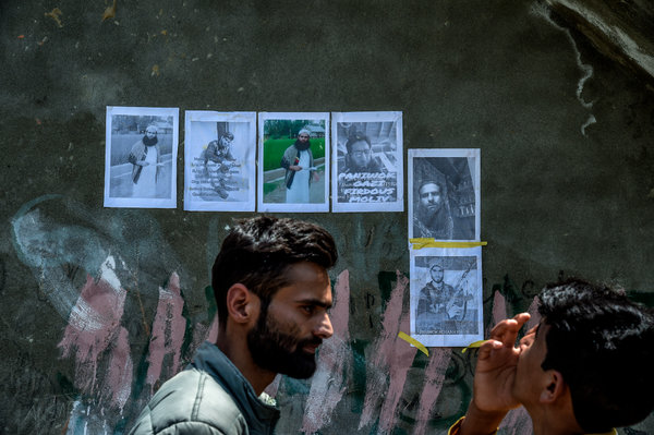 Posters of militants in the village of Kulgam, South Kashmir.