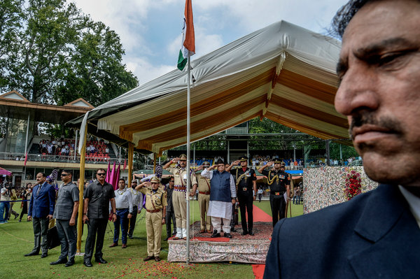 Observing India's Independence Day at a Srinagar cricket ground last week.