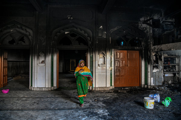 A mosque burned by rioters in Mustafabad in East Delhi.