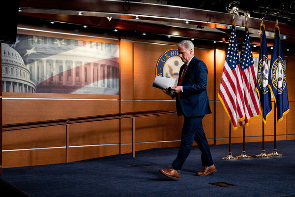House Minority Leader Kevin McCarthy, Republican of California, sought to sidestep questions about whether he agreed with President Trump.