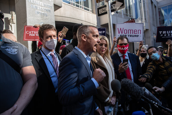 After the Trump campaign won a court order to allow its observers closer access to officials counting ballots, Corey Lewandowski, a senior adviser, held a news conference.